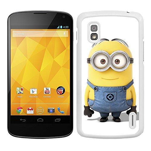 Funda carcasa para LG Nexus 4 dibujo minion borde blanco