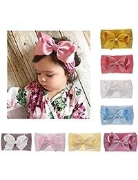 Joyfeels Store Cintas para el pelo de Nylon para bebés Turbante Knotted Girls Hairband Super suave
