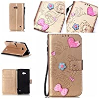 For Nokia Microsoft Lumia N640 Case [With Tempered Glass Screen Protector],idatog(TM) Magnetic Flip Book Style Cover Case ,High Quality Classic Elegant Bling Sparkle Rhinestone Love Butterfly Pattern Design Premium PU Leather Folding Wallet Case With [Lanyard Strap] and [Credit Card Slots] Stand Fun