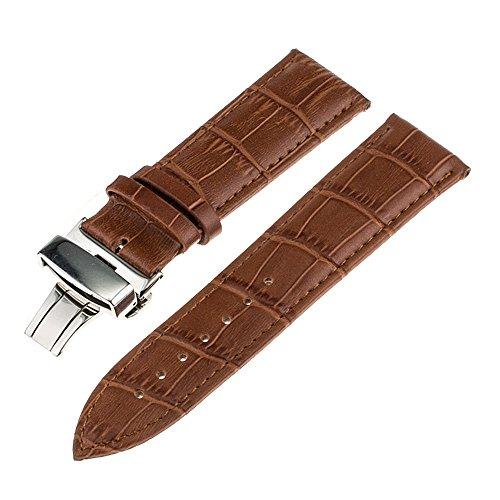 TRUMiRR 20mm echtes Leder-Uhrenarmband Faltschließe Bügel für Samsung Gear S2 Classic R732 R735, Moto 360 2 42mm Herren, Pebble Zeit rund 20mm, Bradley Zeitmesser, Garmin Vivomove
