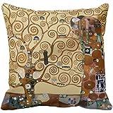 allforyou 18x 18doble lados ropa de cama funda de almohada de decoración para el hogar cuadrado decorativo funda para cojín funda de almohada de Gustav Klimt Árbol de la vida fundas de almohada