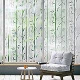 rabbitgoo Pellicola per Vetri Finestre Pellicola Finestra Privacy Modello di bambù 44.5x200 CM Anti-UV Non Adesivo Ideale per Ufficio Camera da Letto Sala di Riunione