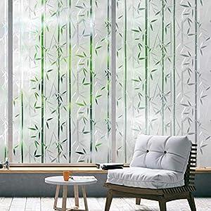 rabbitgoo Fensterfolie Selbsthaftend Blickdicht Bambus Sichtschutzfolie, Klebefolie Fenster 3D Dekofolie Statisch Anti…