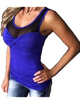juqilu Camiseta de Tirantes de Verano Para Mujer Chaqueta de Encaje Sexy Top de Camisa Sin Mangas Para Mujer