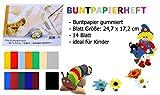 Format X: Buntpapierheft gummiert 14 Blatt zum basteln, Malen, Bunte Farben