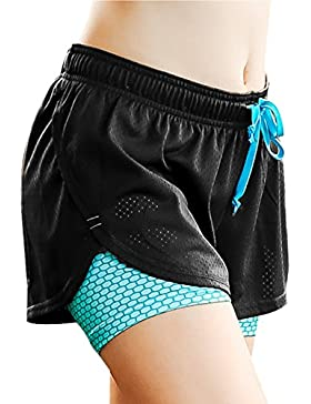 FITIBEST 2 en 1 Pantalones Cortos de Deportivos para Mujer Correr Fitness Yoga