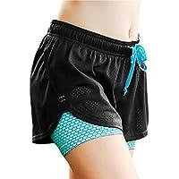 FITIBEST Damen 2 in 1 Sport Shorts Fitness Shorts Mesh Gym Yoga Shorts Laufshorts Fitness Trainingsshorts