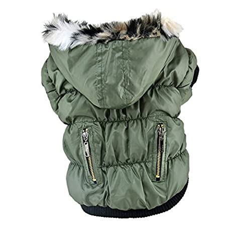 Kiao Manteau Plissés Tendance avec La Zip D'hiver Imperméable Chaud Pour Chien Veste Sweat à Capuche(XS/S/M/L/XL/XXL)-5 Couleurs