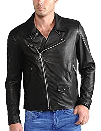 F&H Mens Genuine Cowhide Leather Double Rider Jacket FJ107