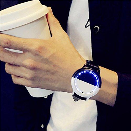 Männer und Frauen Liebhaber Uhr, Upxiang Paar Leder Uhren, wasserdichte LED Glow Watch, Liebhaber \'Smart Electronics Uhren (M/24cm, Schwarz)