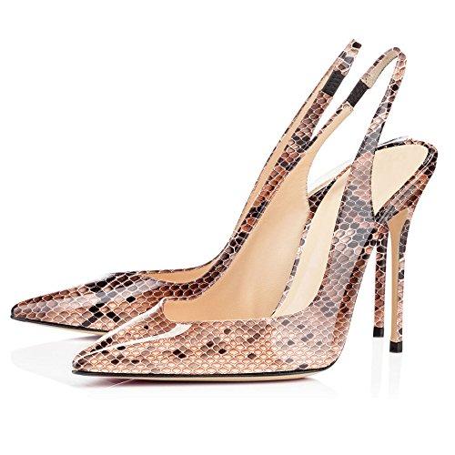 EDEFS Damen Slingback Pumps Spitze Zehen High Heels Bequeme Schuhe Python Brown