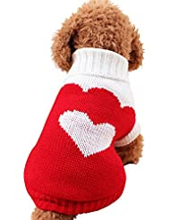 mascotas perros ropa de invierno accesorios Sannysis mascotas ropa navidad gato perro pequeños cachorro suéter punto ropa chaleco chaqueta vestir traje de invierno chihuahua barato (M, Rojo)