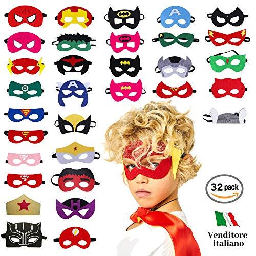 Take inspire | kit 32 pezzi maschere supereroi | bambini e adulti | feste in maschera carnevale cosplay | regalini fine festa compleanno
