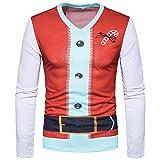 Vertvie Homme T-shirt à Manches Longues 3D Imprimé Vêtement de Noël Top Pull Blouse Losir Casual (XL, Blanc)