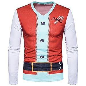 Vertvie Herren Langarmshirt Weihnachten Sweatshirts Rundhals Shirt mit 3D Weihnachtsbaum Druck