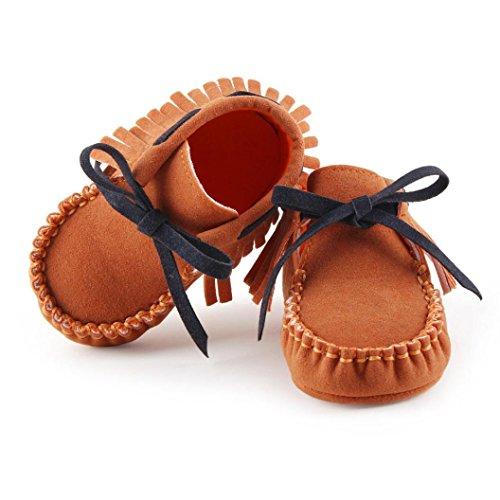 Clode® Kleinkind Baby Mädchen Neugeborene Prewalker Aufladung Quasten Schuhe Weiche Sole Braun