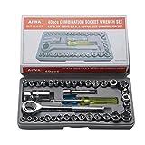 Mallb Set di combinazione di moto multifunzione a cricchetto da 40 pezzi con chiave a cricchetto