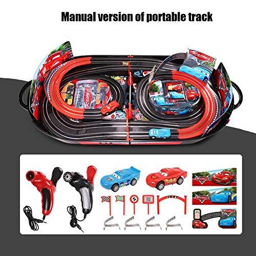 MapleDE Kindermode Spielzeug Double Track Racing, Eltern-Kind Interaktive elektrische manuelle Fernbedienung Auto Sicherheitsbeleuchtung Spielzeug,Manual