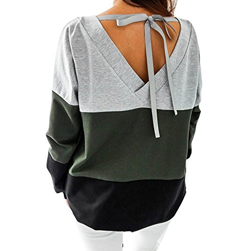 Lace-up-back Top (Huateng Frauen T-Shirts Tops Casual Sweatshirt Lose Streifen Pullover Lace Up Open Back)
