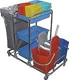 CleanSV Reinigungswagen, Wischwagen, Servicewagen mit 4 Lenkrollen