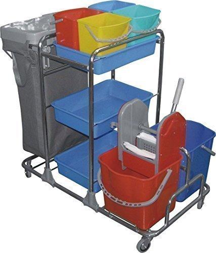 CleanSV Reinigungswagen, Wischwagen, Servicewagen mit 4 Lenkrollen, 4 x 5 Liter Eimer, 2 x 20 Liter Eimern und Moppresse, 3 Ablageschalen und Müllsackhalter incl. Kunststoffsack, Deckel und Mülltrennung