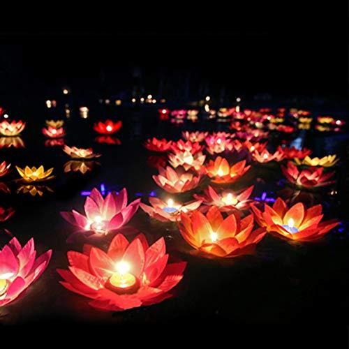LEDMOMO LED schwimmende Lotus Laterne Wishing Seerose künstliche Kerze Blume Laternen Pool Dekor für Festival Party (weiß + lila + orange + rosa + rot)