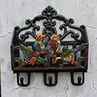 PLL European Style Country Cast Iron Wrought Iron Coloured Drawing Parrot Modeling Coat Hook Magazine Storage Rack