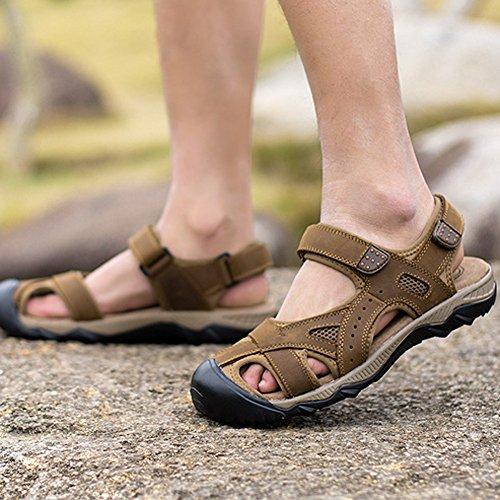 aiyuda Herren Leder Sandalen geschlossen Zehen Fisherman Sport Sandale Wasser Schuhe f¨¹r Outdoor Wandern Strand Reise Arbeit Braun