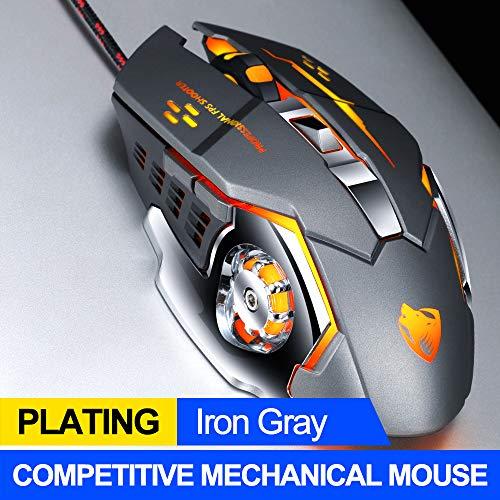 T-WOLF V6 Gaming-Maus mit Kabel (3200 DPI) [programmierbar] [Atemlicht] Ergonomisches Game-USB-Computer-Maus, RGB-Gamer, Desktop-Laptop, PC-Maus, 6 Tasten für Windows 7/8/10/XP Vista, Eisen-Grau