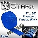Stark Thermal Wrap 1 Wide x 50' Long - Fiberglass Heat Shield Exhaust Manifold / Header Wrap - Blue by Star K