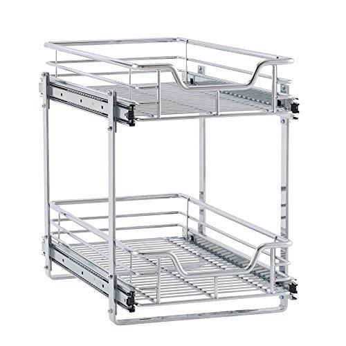 Haushalt Essentials glidez 2-stufig Rutschen Organizer–Ziehen Cabinet Regal, chrome, 11.5