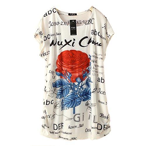 QIYUN.Z Floral Manches Courtes Lettre Imprimee De L'ete Des Femmes Blanches Longues Et Amples Tees T-Shirt Rouge