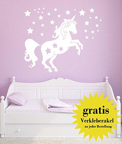Wandtattoo Einhorn mit Sternen - Made in Germany - in verschiedenen Farben und Größen - Kinderzimmer Mädchenzimmer Babyzimmer Wandaufkleber...