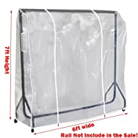 Complete Retail Solution Ltd Quality Clear Garment Rail Cover Transparent Clothes rail cover 3ft 4ft 5ft 6ft (7ft High x 6ft Wide)