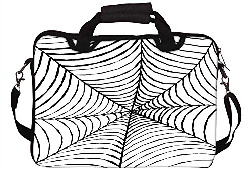 Snoogg schwarz Spider Web 30,5cm 30,7cm 31,8cm Zoll Laptop Notebook Computer Schultertasche Messenger-Tasche Griff Tasche mit weichem Tragegriff abnehmbarer Schultergurt für Laptop Tablet PC Ultrabook Chromebook Laptop (Spider-laptop-tasche)