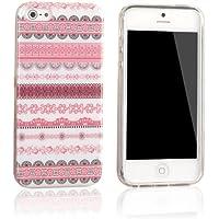 tinxi® Indian Stil Schutzhülle für Apple iPhone 5 5S Hülle TPU Silikon Rückschale Schutz Hülle Silicon Tasche Case Etui pink Blumen und Rund