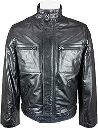 UNICORN Hommes Court Manteau de mode - Réel cuir veste - Noir Glacé #P3