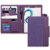Toplive Portfolio Case Padfolio, Executive Business Document Organizer with A4 Size Clipboard, Business Card Holder, Tablet Sleeve(Up to 10.5 Tablet), for Business School Office Conference, Purple