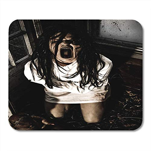(Mouse Pads Girl Scary Horror Scene of Woman Possessed Wearing Straight Jacket Screaming Mouth Zombie Mouse Pad for notebooks,Desktop Computers mats 7.08 (L)x 8.66 (W) inch Office Supplies)