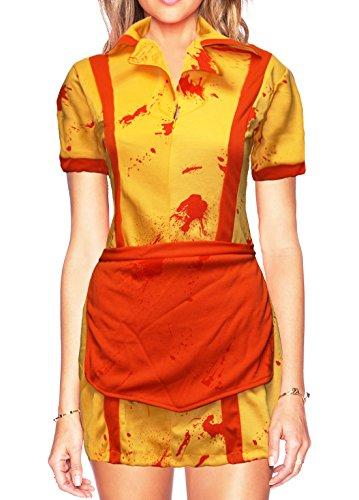 Zombie Kostüm Girls - Bslingerie® Damen 2 Broke Girls Zombie Einteiliges Kled Kostüm Set (M, Gelbes Kleid)