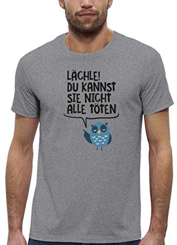 Eule Premium Herren T-Shirt aus Bio Baumwolle Lächle du kannst sie nicht  alle töten