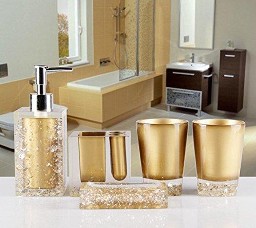 AMS Luxury Acryl WC Bad Set Badset Garnitur / 5-teilig/ Seifenspender/ Zahnbürstenhalter/ Zahnputzbecher, Gold (Bad Accessoires Set Gold)