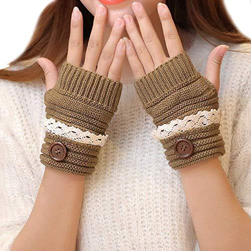 JINSH Damen Frauen Winter Elegante Spitze Gestrickte Fingerlose Handschuhe Arm Häkeln Wärmer Pulse Warming Special Style Arm Warm (Color : Khaki, Size : One Size)