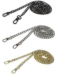 Udekit Lujo de la alta calidad 43 pulgadas DIY Metal la correa de cadena del reemplazo del bolso del monedero del cuerpo de la cruz fijada con las hebillas (negro de plata del oro/sistema)