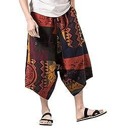 ☀Pantalones con estampado floral de hip-hop estilo étnico para hombres Pantalones relajados Pantalones cruzados, pantalones anchos, pantalones de chándal únicos personalizados☀ (M, marrón)