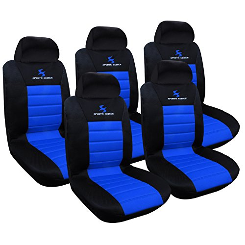 WOLTU AS7256-5 Set Coprisedili Auto 7 Posti Seat Cover Protezioni Universali per Macchina Tessuto Poliestere Nero/Blu