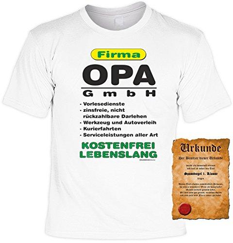 Geburtstag T-Shirt Firma Opa GmbH Vatertag Fun Shirt Geschenk geil bedruckt mit Urkunde Weiß