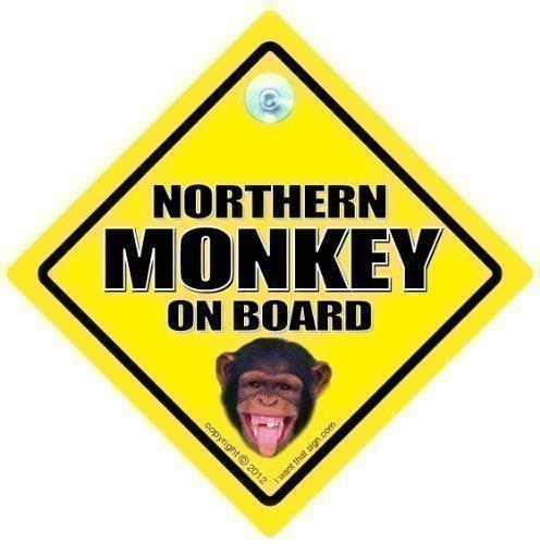 Northern Monkey Auto Schild, on Board, Monkey, Lustiger Aufkleber, Straßenschild, Nord Süd Divide, Stoßstangenaufkleber, Baby Board Zeichen, Joke Neuheit Fahren Straße Unhöflich Wut Im Straßenverkehr