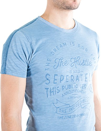 Timezone Herren Thehustle T-Shirt Vintage Blau (Aluminium 3046)