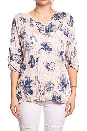Abbino IG005 Langarm Shirts Tops Ragazze Donne - Made in Italy - Multiplo Colori - Mezza Stagione Primavera Estate Autunno Dinamico Tenerezza Leggero Semplici Shirts Maglie Tempo Libero Cotone Rosa (Art. 7129)